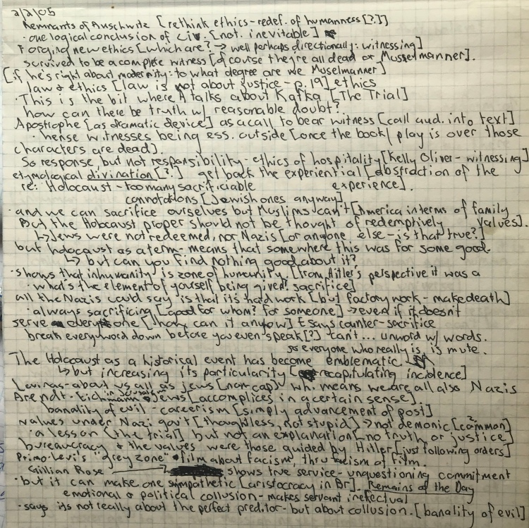 handwritten notes dated 2/2/05 describing response to Remnants of Auschwitz and Hannah Arendt's Eichmann in Jerusalem, with stream of consciousness by author